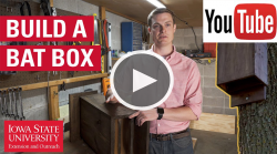 youtube icon and play button over image of Adam holding a bat box