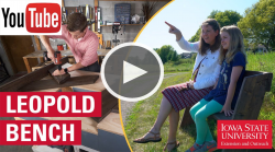 youtube icon and play button over side by side images of Adam building bench and woman and child sitting on finished product