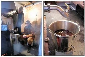 using an evaporator for boiling maple syrup at Iowa State University Forestry greenhouse