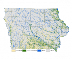 map of modern landcover in Iowa - prairie, forest, water
