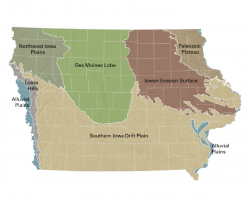 Map of the landform regions of Iowa