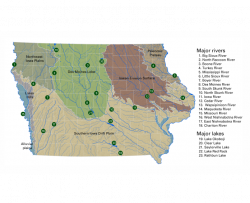 map of the major rivers, streams, and lakes overlaid on the landform regions of Iowa.