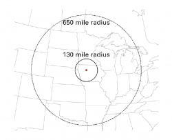 Manson Impact location in northwest Iowa with 2 raddii of effects