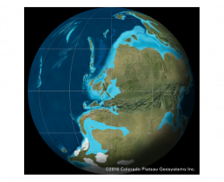 deep time map from 300 million years ago showing Iowa's position on the Earth and near an ocean during the Pennsylvanian time period