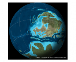 deep time map showing Iowa's position on the Earth and near an ocean during the Devonian time period