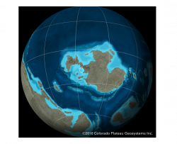 deep time map showing Iowa's position on the Earth and nearly completely covered by an ocean during the Cambrian time period