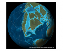 deep time map showing Iowa's position on the Earth and partially covered by an ocean during the Cretaceous time period
