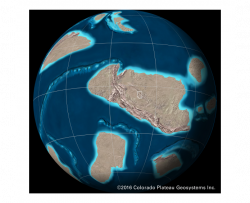 deep time map showing Iowa's position on the Earth during the Precambrian time period