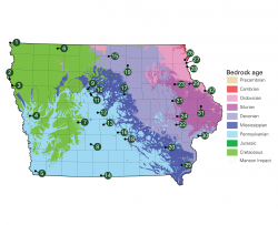 Bedrock age map of Iowa with geological places to visit labeled